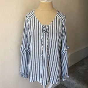 Anthro Sanctuary Striped Lace Up Peasant Top EUC